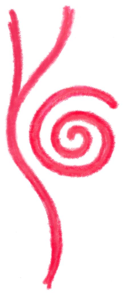 Das Logo besteht aus einer Spirale und einer haltenden Linie links daneben. Es symbolisiert Entwicklung, dass Du ganz Du selbst sein kannst